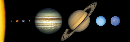 This illustration shows the approximate sizes of the planets relative to one another and the Sun.